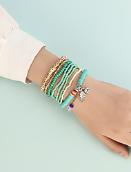 cheap -Boho Bead Bracelet Set Stacking Stackable Wedding Birthday Fashion Holiday Sweet Boho Acrylic Bracelet Jewelry Sage For Anniversary Prom Festival
