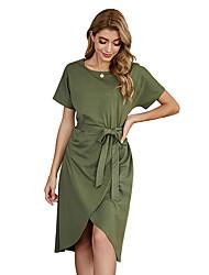 cheap -LITB Basic Women's Belted Wrap T-Shirt Dress Knee Length Dress Solid Color