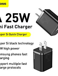 cheap -BASEUS 25 W Output Power USB C PD Charger Fast Charger Phone Charger GaN Charger Laptop Charger Portable Charger Portable with Cable Fast Charge For iPad Cell Phone Laptop Tablet