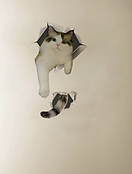 cheap -3D Walls Breaking Effect Tail Cat Cartoon Home Background Decoration Removable Sticker