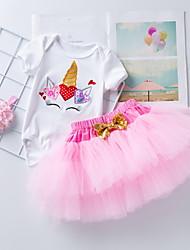 cheap -Baby Girls' Basic Letter Bow Print Short Sleeve Dress Red Blushing Pink