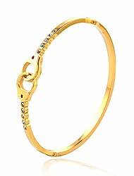 cheap -stainless steel lover's lock crystal bangle rose gold silver steel bracelets for women girls gifts (gold, type a)