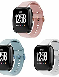 cheap -Smartwatch band bracelet compatible with versa / versa 2 / versa lite edition for women and men, soft silicone adjustable bracelet replacement fitness bracelet(blue+pink+white,3 Pack)