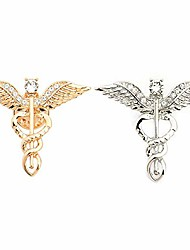 cheap -hanreshe caduceus brooch pins 2 pieces medical jewelry gift for doctor/nurse/medical student rod of asclepius emergency crystal brooch silver gold color (wing brooch)