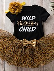 cheap -Baby Girls' Basic Leopard Letter Print Short Sleeve Dress White Black Camel