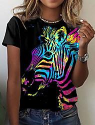 cheap -Women's 3D Printed T shirt 3D Animal Print Round Neck Tops Basic Basic Top Black