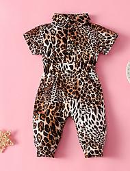 cheap -Baby Girls' Basic Leopard Print Short Sleeves Overall & Jumpsuit Khaki