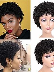 cheap -short afro curly human hair wigs for black women brazilian virgin human hair wigs pixie cut kinky curly short wigs 150% density natural black color
