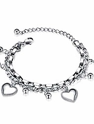 cheap -tieslong jewelry heart pendant charm dainty bracelets for women fashion personalized gorgeous stainless steel double layered chain adjustable size cute trendy aesthetic bracelet for girls