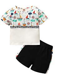 cheap -Baby Girls' Active Print Print Short Sleeve Regular Regular Clothing Set Beige