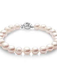 cheap -pearl bracelets genuine freshwater cultured 8-9mm pearl bracelet with flower clasp jewelry gift for women wife girls mother