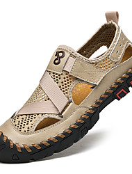 cheap -Men's Sandals Crochet Leather Shoes Flat Sandals Casual Beach Roman Shoes Daily Outdoor Walking Shoes Nappa Leather Cowhide Breathable Handmade Non-slipping Booties / Ankle Boots Almond Black Gray