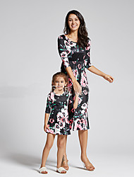cheap -Mommy and Me Family Matching Outfits Dress Florals Sleeveless Black Holiday
