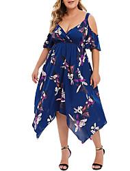 cheap -Women's Plus Size Dress Swing Dress Maxi long Dress Half Sleeve Floral V Neck Fashion Spring Summer White Blue Red XL XXL XXXL 4XL 5XL Chiffon