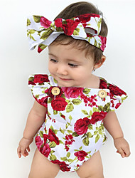 cheap -Baby Girls' Active Floral Print Short Sleeves Romper Red