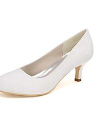 cheap -Women's Wedding Shoes Kitten Heel Round Toe Lace Floral White Black Blue