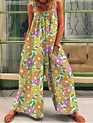 cheap -2021 new amazon european and american cross-border foreign trade independent station women's fashion printed jumpsuit women's factory price direct supply