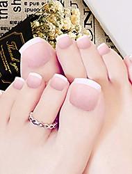 cheap -24pcs false nail for toe pink french full cover press on toe nails acrylic foot nails tips