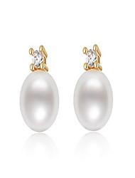 cheap -pearl stud earrings freshwater cultured pearl ear studs 8.5-9mm hypoallergenic jewelry gift for women girls - white pearl
