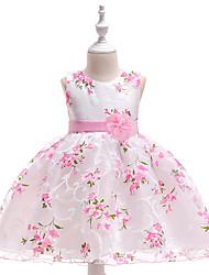 baratos -vestido de menina infantil vestido de festa floral estampado princesa vestido de tule flor pegeant laço floral em camadas branco rosa renda tule algodão sem mangas vestidos vintage da moda 2-10 anos