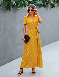cheap -Women's Swing Dress Maxi long Dress Yellow dots Coffee color Purple Apricot Short Sleeve Print Round Dots Flower / Floral Lace up Print Spring Summer V Neck Casual / Daily 2021 S M L XL