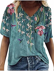 cheap -Women's Floral Theme T shirt Graphic Florals V Neck Basic Tops Floral blue Willow Green Blushing Pink