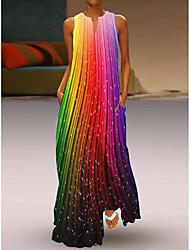 cheap -Women's Swing Dress Maxi long Dress White+Black Rainbow Orange White Black Sleeveless Pattern Stripes Flower Pocket Print Spring Summer V Neck Stylish Casual 2021 S M L XL