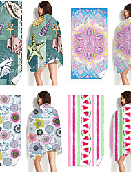 cheap -Multi Purpose Beach Towel,Superfine Fibre  Rectangular Colorful Planet/Flower Patterned Silk Scarf,Sand Free Towel, for Travel, Camping, Pool, Outdoor or Picnic