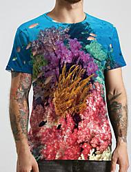 cheap -Men's Unisex Tee T shirt 3D Print Graphic Prints Underwater World Plus Size Print Short Sleeve Casual Tops Basic Designer Big and Tall Rainbow