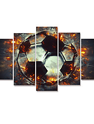 cheap -5 Panels Wall Art Canvas Prints Painting Artwork Picture HD World cup European Cup Sports Football Home Decoration Dcor Stretched Frame Ready to Hang