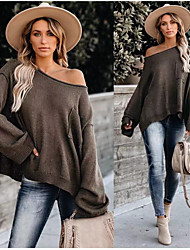 cheap -2020 autumn and winter european and american foreign trade cross-border amazon new round neck pocket loose casual women's sweater knitted women