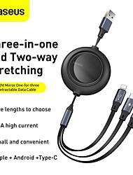 cheap -BASEUS Micro USB Lightning USB C Cable 1 to 3 3.5 A 1.2m(4Ft) TPE Aluminium Alloy For Macbook iPad Samsung Phone Accessory