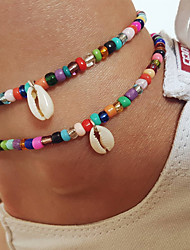 cheap -Anklet Stylish Simple Women's Body Jewelry For Beach Festival Beads Plastics Shell Rainbow 1pc