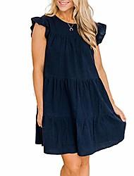 cheap -sreoci women casual babydoll ruffle sleeve round neck loose flowy mini tunic short dresses-navy blue-xl