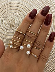 cheap -Women's Band Ring Ring Set Vintage Style Simple Fashion European Sweet Imitation Pearl Rhinestone Earrings Jewelry Gold For Anniversary Party Evening Street Prom Festival 8pcs