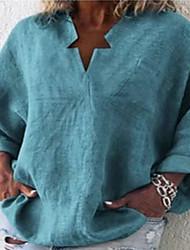 cheap -Women's Plus Size Tops Blouse Shirt Plain Long Sleeve Spring Summer Photo Color Color blue Black Big Size L XL XXL XXXL 4XL