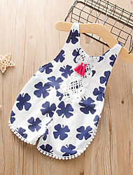 cheap -Baby Girls' Active Floral Print Sleeveless Romper Blue