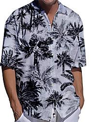 cheap -Men's Shirt 3D Print Coconut Tree Plus Size 3D Print Button-Down Short Sleeve Casual Tops Casual Fashion Hawaiian Breathable Gray / Sports