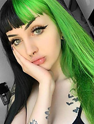 cheap -halloweencostumes Synthetic Wig Straight kinky Straight Neat Bang Wig 24 inch Black / Green Synthetic Hair Women's Fashionable Design Mixed Color