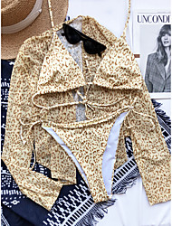 cheap -new mesh blouse three-piece 2021 sexy bikini european and american cross-border leopard print swimsuit 76601