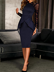 cheap -Sheath / Column Little Black Dress Elegant Wedding Guest Cocktail Party Dress High Neck Long Sleeve Knee Length Spandex with Ruched Ruffles 2021