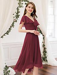 cheap -A-Line V Neck Knee Length Chiffon Bridesmaid Dress with Pleats / Ruffles
