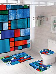 cheap -Bathroom Shower Curtain & Mat Set White Modern Polyester Waterproof