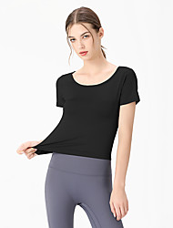 cheap -Women's Short Sleeve Running Shirt Tee Tshirt Top Athletic Elastane Quick Dry Breathable Soft Gym Workout Running Active Training Jogging Exercise Sportswear Solid Colored Normal Amethyst Black Light