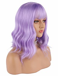 cheap -halloweencostumes Lavender Purple Wig Short Color Wave Bob Wig With Air Bangs 12 Inches (About 30.5 cm) Natural Wig