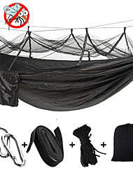 cheap -Camping Hammock with Mosquito Net Outdoor Portable Lightweight Breathable Anti-Mosquito Anti-Rollover Parachute Nylon with Carabiners and Tree Straps for 2 person Camping / Hiking / Caving Outdoor