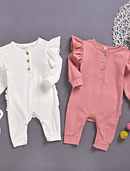 cheap -Baby Girls' Active Solid Colored Patchwork Long Sleeve Romper White