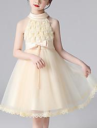 cheap -Kids Little Girls' Dress Flower Birthday Party Festival Bow Beige White Blushing Pink Knee-length Sleeveless Princess Cute Dresses Children's Day Summer Regular Fit 4-13 Years