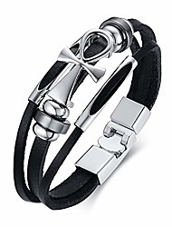 cheap -jakob miller stainless steel genuine multi layer leather bracelets key of life coptic ankh cross bangle cuff bracelets with magnetic clasp for men women
