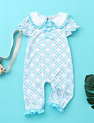 cheap -Baby Girls' Active Print Flower / Floral Short Sleeves Romper Blue